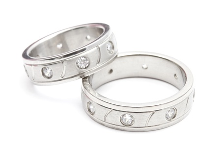 vow: Wedding rings isolated on white background Stock Photo
