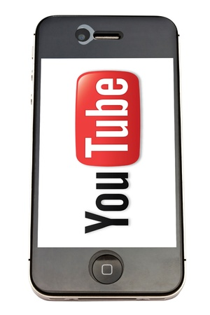You Tube logo displayed on iphone 4s screen Editorial