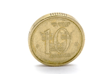 Swedish currency - 10 Kronor closeup on white background   photo