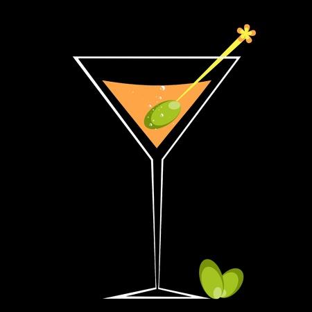 copa de martini: C�ctel y aceite de oliva aisladas sobre fondo negro Vectores