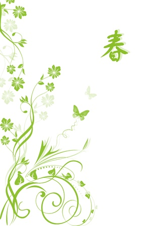 Spring green background with floral and chinese text Vector
