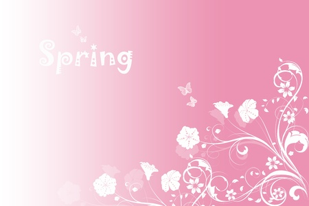 Beautiful spring pink background of floral and butterfly Vector