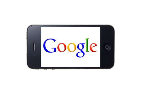 search button: Google logo displayed on iPhone screen