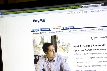 Paypal website displayed on a computer screen Stock Photo - 12201221