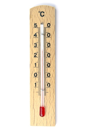 Wooden thermometer closeup on white background