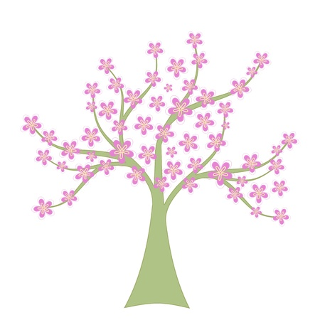 Beautiful spring tree isolated on white background Vector