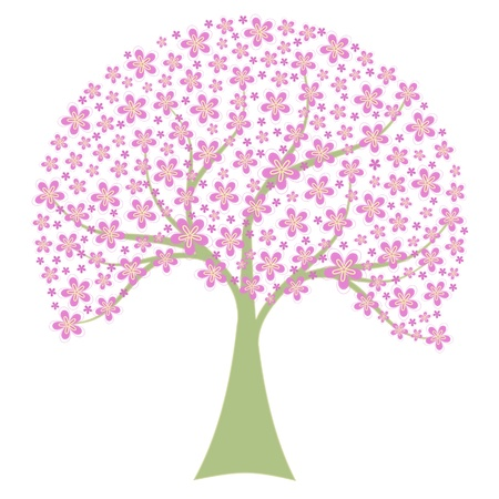 Beautiful spring tree isolated on white background Stock Vector - 12337079