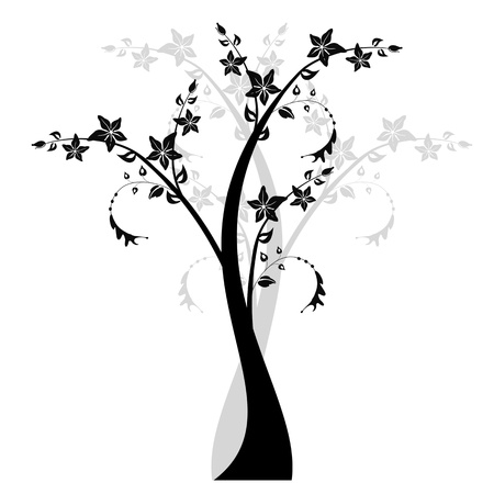 Beautiful art tree isolated on white background Illustration