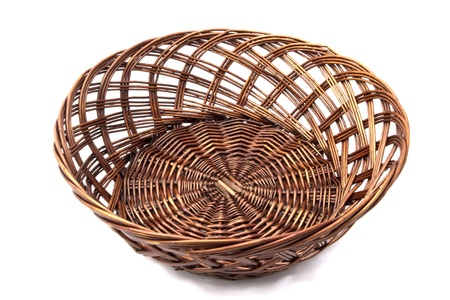willow fruit basket: Blank basket for bread and fruits Stock Photo