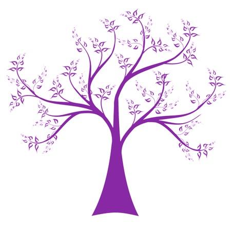 Arte árbol aislado sobre fondo blanco Ilustración de vector