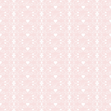 pink hearts: Background of seamless floral anf hearts pattern
