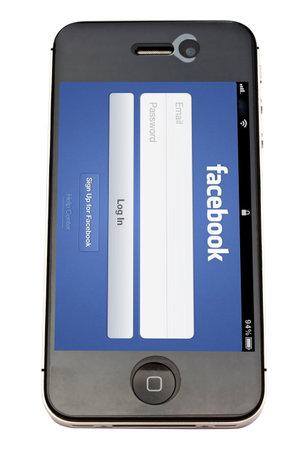 Sito Facebook displayrd sullo schermo iphone