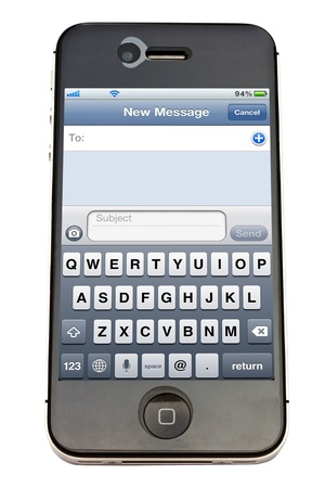 Apple iPhone 4 with New Message Screen Stock Photo - 12386037