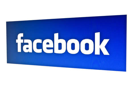 Facebook logo displayed on a computer screen Stock Photo - 12444608
