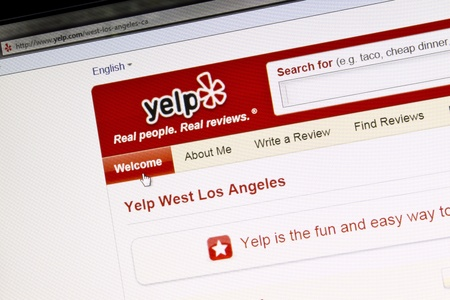 yelp websita displayed on a computer screen