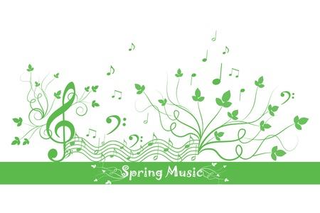 春の花と音楽の美しい背景