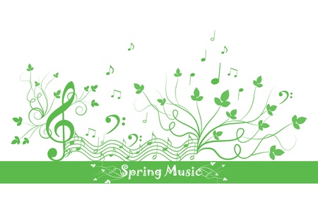 Beautiful background of spring floral and music Stock Vector - 12490051