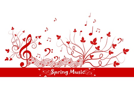 Beautiful background of spring floral and music Vector