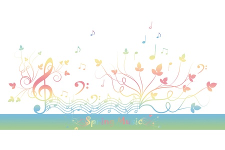 grunge music background: Beautiful background of spring floral and music