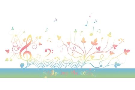 music banner: Mooie achtergrond van de lente bloemen en muziek