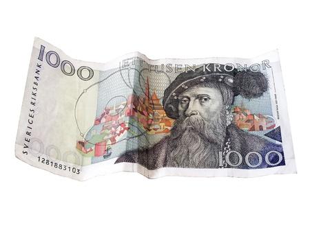 Swedish  1000 kronor closeup on white background. photo