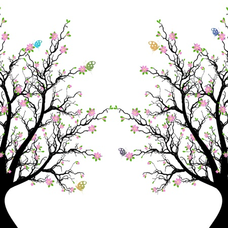Beautiful blossom tree and butterfly Vector