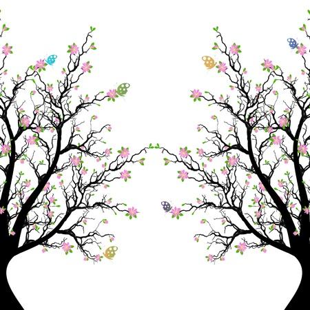 Schöne Blüte Baum und Schmetterling