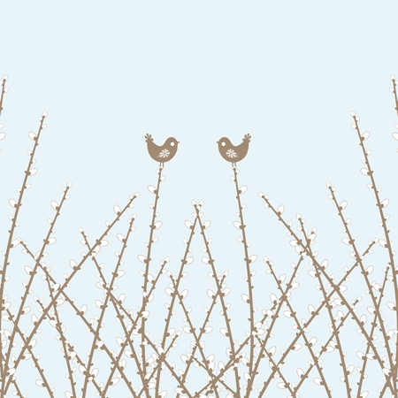 Beautiful spring willow twig and birds closeup  Vector