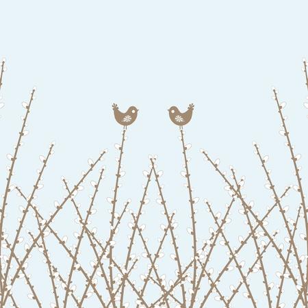 Beautiful spring willow twig and birds closeup Stock Vector - 12859323