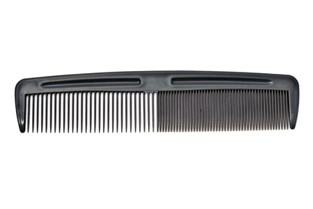 plastic comb: Gray comb isolated on white background   Stock Photo