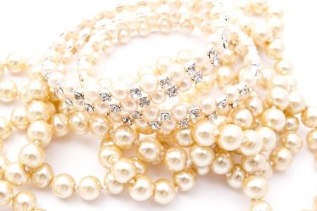 Beautiful string of beads isolated on white background  photo