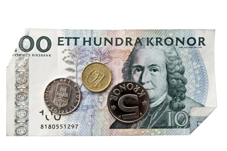 Swedish currency and coins closeup  photo