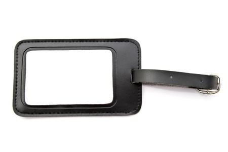 Black leather Luggage tag isolated on white background Stock Photo - 12962420