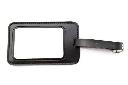 Black leather Luggage tag isolated on white background  Stockfoto