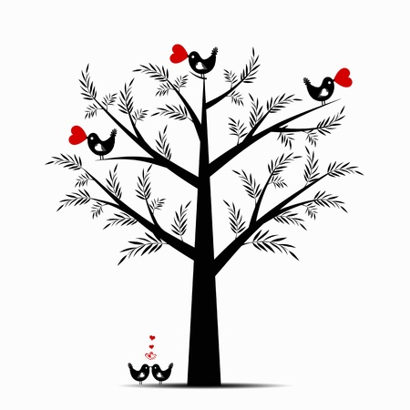 Beautiful valentine tree isolated on white background Vector