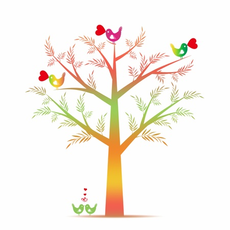 Colorful valentine tree isolated on white background Vector