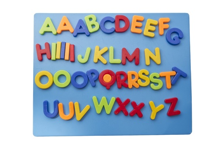 Letter magnets closeup on white background Stock Photo - 13146310