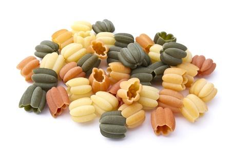 Colorful pasta closeup on white background photo