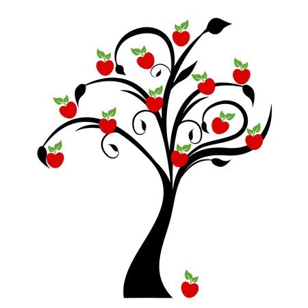 흰색 배경에 격리 된 아름다운 사과 나무 일러스트