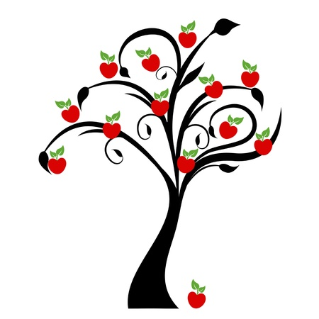 Beautiful apple tree isolated on white background Vector