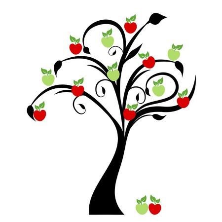 Schöne Apfelbaum isoliert auf weißem Hintergrund Illustration