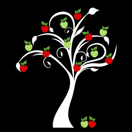 arbol de manzanas: Hermoso árbol de manzanas aisladas sobre fondo negro Vectores