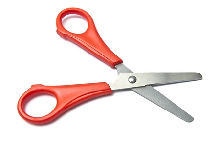 Red handled scissors isolated on white background  Stockfoto