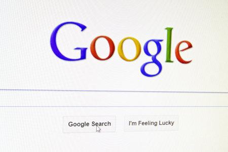 google: Sitio web de Google que aparece en una pantalla de ordenador Editorial