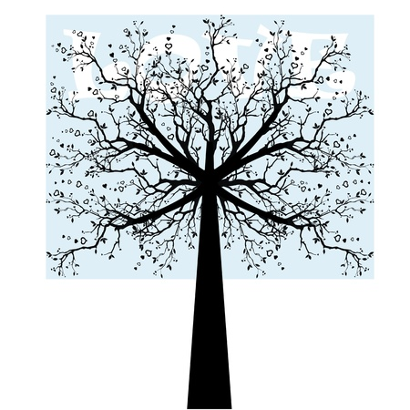 Beautiful love tree isolated on white background Vector