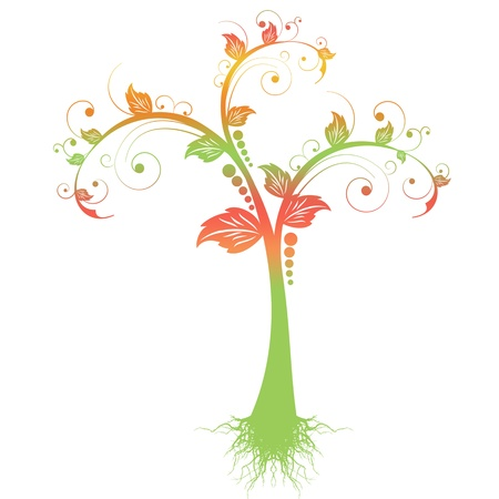 Colorful art tree isolated on white background Vector