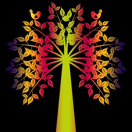 Colorful art tree isolated on black background Vector