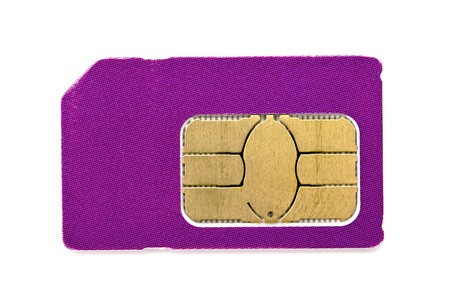 Sim card for mobile phone isolated on white background  photo