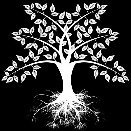 Beautiful art tree isolated on black background Vector