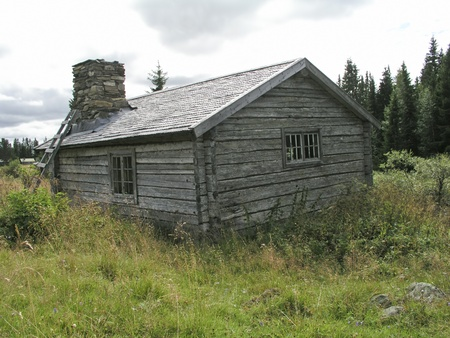 Old traditional wooden cabin in Sweden  photo